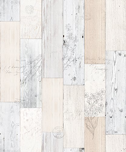 Vintage Herb Wood Panel Pattern Self-adhesive Peel-stick Wallpaper