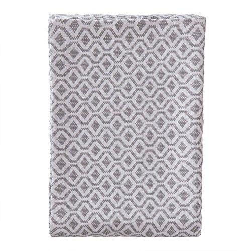 URBANARA 180x230 cm Tagesdecke/Plaid Viana Grau/Weiß — 100% Reine Baumwolle — Ideal als Bettüberwurf oder Kuscheldecke — im Diamantmuster — geeignet für Einzel- und Doppelbett