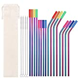 Metal Straws Stainless Steel Straws 16 Pcs 10.5' 8.5' Reusable Drinking Straws Rainbow Multi Colored Straws for 20 24 30 OZ Yeti Rtic Tumblers with 16 Silicone Tips 4 Cleaning Brush 1 Case