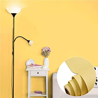 Matt Yellow Vinyl Contact Paper Decorative Self adhesive Shelf Liner Waterproof Removable Peel and Stick Wallpaper for Bedroom Living Room Wall Decor 60cm x 3m