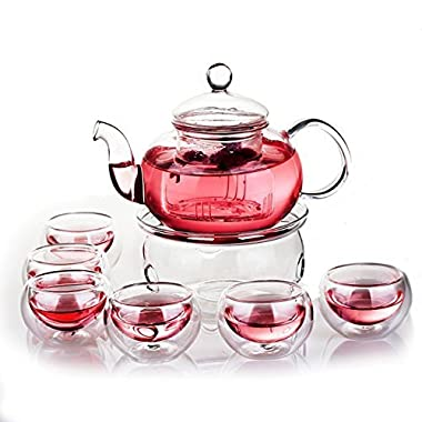 Jusalpha Glass Filtering Tea Maker Teapot with a Warmer and 6 Tea Cups Set (Version 1, 27 OZ)