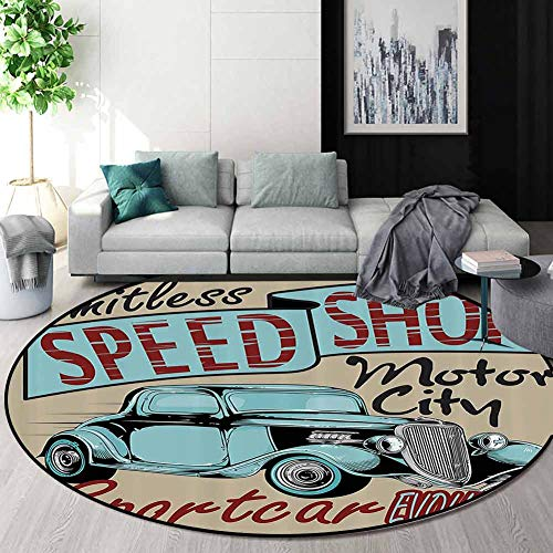 Buy Cheap RUGSMAT 1950S Decor Art Deco Pattern Non-Slip Round Area Rug,Nostalgic Advertising Print f...