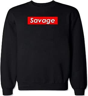 FTD Apparel Men's Savage Supreme Logo Box Crew Neck Sweater