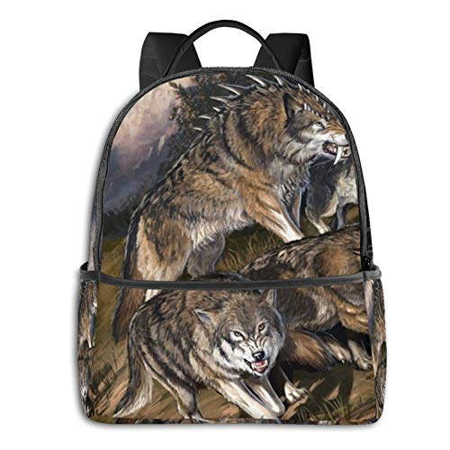 Wolves Flight Leader Teeth Rage Fashion Multi-Function Printed Backpack Light and Portable with Smooth Zipper Bookbag Laptop Shoulder Bag for Boys&Girls