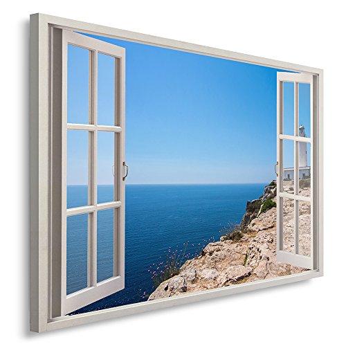 Feeby Cuadro de 1 parte, 120 x 80 cm, panel individual de cuadros sobre lienzo, impresión artística del mar azul natural