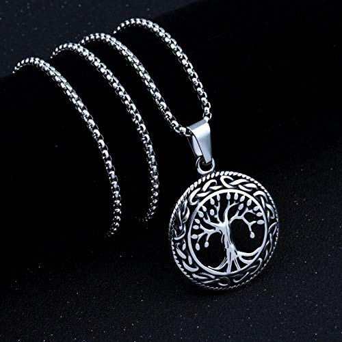 MHKL Necklace For Men,Vintage Personalised Round Tree Of Life Hollow Out Pendant Necklace Punk Stainless Steel Choker With Chain For Men Jewelry Gift