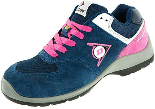 Dunlop Flying Arrow Lady Damen Sicherheitsschuh S3 | Arbeitsschuh S3 mit Zehenkappe | Sportlich & Atmungsaktiv, Blau-Pink, Größe 38 + ACE Schuhbeutel