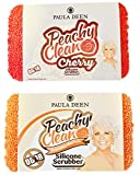 Paula Deen Peachy Clean Sponge Pack of 2! Peach Scented Kitchen and Dish Scrubber! Long Lasting and Antimicrobial Silicone Sponge! Choose Your Silicone Scrubber! (Assorted)
