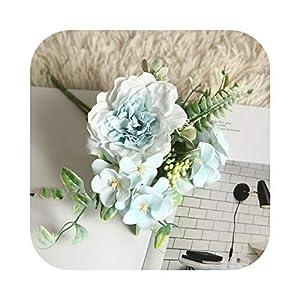 LiuFa5 ssss3333Artificial Flowers Hydrangea Silk Bouquet for Decoration Camellia Artificial Peony Rose Wedding Home DIY Decor Fake Flower White