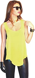 Hipster Ob2Sybl-M Sleeveless Top For Women - M, Yellow