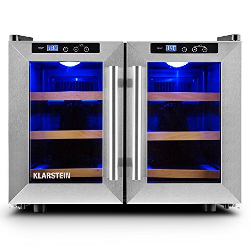 Klarstein Reserva Saloon Beer & Wine Cooler - Fridge, Refrigerator, 12 Bottles, 40 L, 3 Wooden Shelf Inserts, LED Lighting, 2 Insulated Stainless Steel Glass Doors, Operating Section, Silver