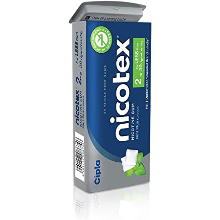 Cipla Nicotex Nicotine Gum 2mg Tin, Mint Flavor, Sugar Free, Quit smoking (25gums*3 packs)
