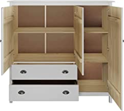 MOUYOU Wardrobe with 3 Doors and 2 Drawers, 142 x 45 x 137 cm, Pine Wood Room Cabinet, Oara Bedroom, White