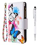Grandoin für Samsung Galaxy Note 10 Plus Hülle, Handyhülle im Brieftasche-Stil, Handytasche PU Leder Reißverschluss Klappbarer Flip Cover Bunte Muster Case Schutzhülle (Zwei Schmetterlinge)