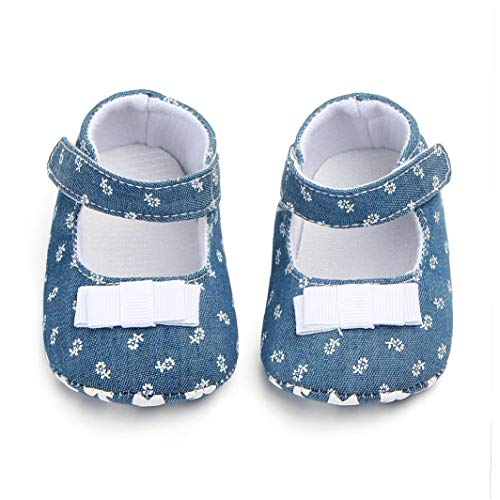 Unisex-Baby-mädchen-Baumwollschuhe Antiskid Sole-Blumen-drucken Magie Aufkleber Indoor Prewalker Schuhe Sneaker Weiß 12cm
