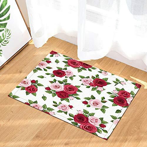 EdCott Tricolor rote Rose Flanell Schlafzimmer Teppich Innendekoration Matte Außentür Fußmatte Badezimmermatte Küchentür Matte Farbe Quadrat Matte 40x60cm Hause Tür Matte Persönlichkeit neu