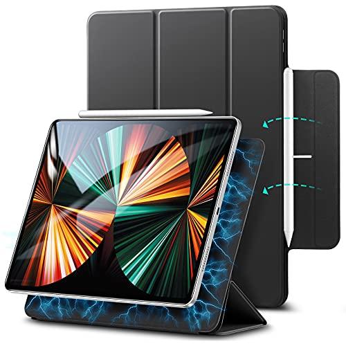 ESR Cover Magnetica Rebound Compatibile con iPad PRO 12.9 2021/2020, Cover Intelligente con Attacco Magnetico, Auto Notte/Veglia, Supporto Trifold e per Pencil 2- Nero
