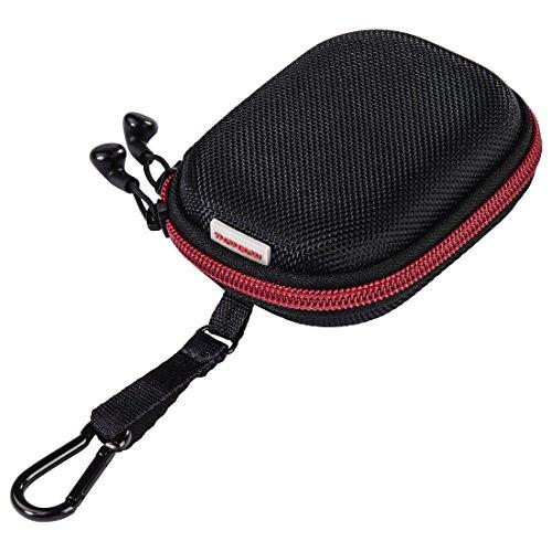 Thomson In-Ear-Kopfhörer Tasche mit Kabel-Aufwickler (robustes Hard-Case zur Ohrhörer-Aufbewahrung, 2-Wege-Reißverschluss, Zubehör-Netzfach, Karabinerhaken, Innenmaß 6,5x 8,6x 2 cm) rot/schwarz