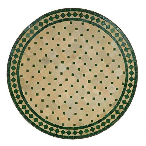 Casa Moro Mediterraner Gartentisch marokkanischer Mosaiktisch Ø 80cm rund grün terrakotta mit Gestell H 73 cm Kunsthandwerk aus Marrakesch Dekorativer Balkontisch Esstisch Bistrotisch | MT2091