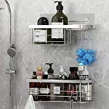 Product Image of the KESOL Shower Caddy and Soap Dish with Hooks Shower Shelf Bathroom Organizer, No Drilling Adhesive Wall Mounted Bathroom Shelf, Rustproof SUS304 Stainless Steel (2 Pack)