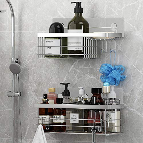 KESOL Shower Caddy and Soap Dish with Hooks Shower Shelf Bathroom Organizer, No Drilling Adhesive Wall Mounted Bathroom Shelf, Rustproof SUS304 Stainless Steel (2 Pack)
