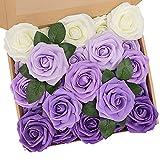 N&T NIETING Künstliche Blumen Rosen, 25 Stück Deko Blumen Fake Rosen mit Stielen DIY Hochzeit Blumensträuße Braut Zuhause Dekoration, Serie Violett