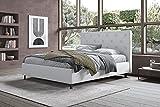 Germanvox - Cama de matrimonio acolchada moderna y de diseño con somier de láminas de madera para colchón de matrimonio, elegante cabecero de piel sintética blanco (160 x 190 cm)