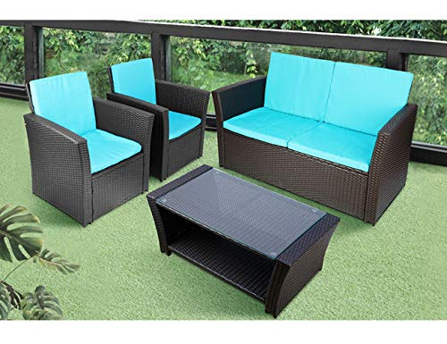 TUSY 5pcs Patio Outdoor Furniture Sets High Back, All-Weather Rattan Sectional Sofa with Table, Washable Couch Cushions Blue, Black Rattan
