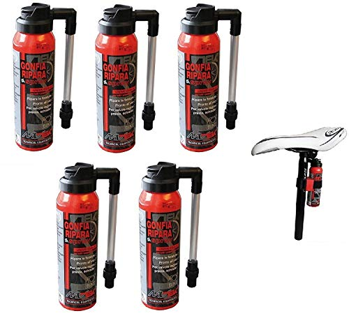 MVTEK 5 x Fast CO2 (GONFIA E RIPARA) per Bici Bicicletta MTB Mountain Bike/Strada - Corsa - Kit Fast BOMBOLETTE