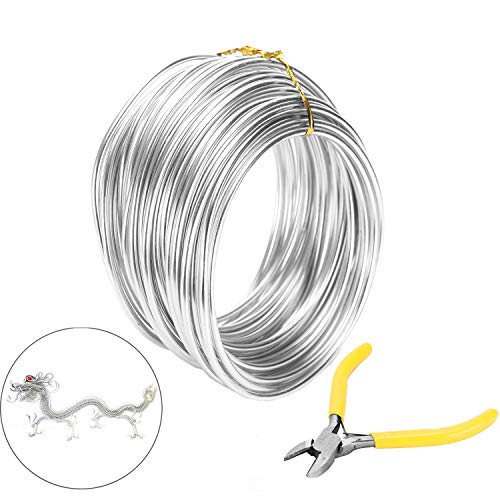 Messar Aluminum Bonsai Training Wire, 3mm Aluminium Bonsai Plant Training Line 33.3ft Craft Aluminum Garden Wire with Cutting Plier for Jewellery Making, Modelling Bonsai & DIY Art Crafts (Silver)