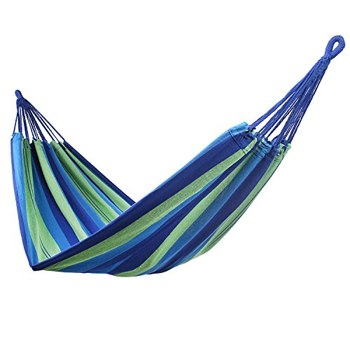 decoking 43271 Hamaca Outdoor Indoor 210 x 150 cm Silla Suspendida Hammock carga hasta 300 kg Bolsa Algodón Verde Azul Azul Oscuro multicolor Green Blue Navy Colorful