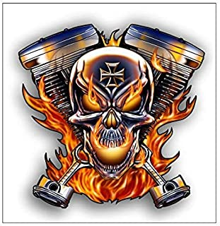 Magnet flaming twin skull motorcycle engine Magnetic vinyl bumper sticker sticks to any metal fridge, car, signs 5