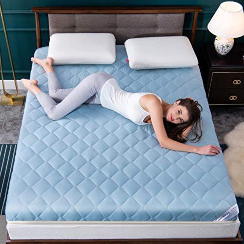 RYUXUI dubbele matras topper opvouwbare matrasbeschermer ademende slapende Tatami vloermat huidvriendelijk medium stevig gevoel, geschikt voor cabine bed stapelbed UK King (150 x 200 x 5 cm) Blauw