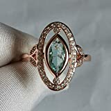 XIALV Rose Gold & White Gold Plated Marquise Cut Simulated Blue Aquamarine CZ Women's Engagement Wedding Ring (US code 8)