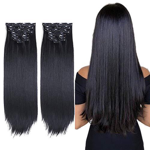 2 Packungen 8 teiliges Set Clip in Extensions Lange Gerade Vollen Kopf Clip in Haarverlängerungen 8 Stücke 17 Clips Weiche Dicke Synthetische Haarverlängerung Haarteil für Frauen (22 zoll, Schwarz)