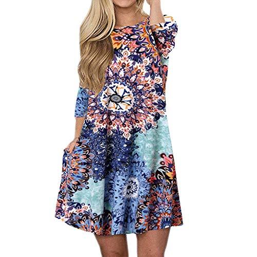 TUDUZ Frauen Sommer Vintage Boho Maxi Abend Party Kleid Elegant Strand Große Größen Blumenkleid Langarm, 3/4 Ärmell, Kurzarm (S2-Mehrfarbig1, L)