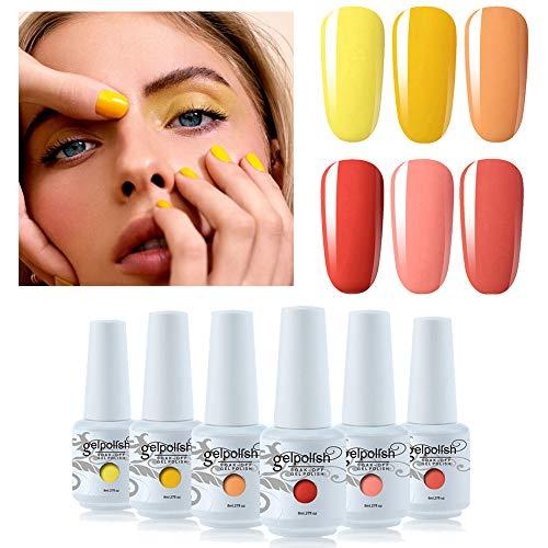 Vishine Gel Nail Polish Set - Yellow Peach 6 Colors Nail Art Gift Box Soak Off UV LED Gel Polish Starter Kit 0.27 OZ