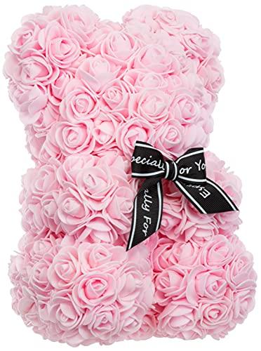 Brandsseller Oso de rosa de aprox. 25 cm de alto, decoración de rosas, regalo para mujeres/hombres, romántico, Acccoir, cumpleaños, aniversario, boda y muchos más... rosa