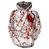 nezababy Blood Hoodies 3D Printing Cosplay Halloween Costume Bleeding Splatter Drawstring Sweater Unisex (Large)