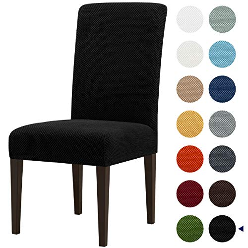 Subrtex Stretch Dining Room Chair Slipcovers (4, Black Jacquard)