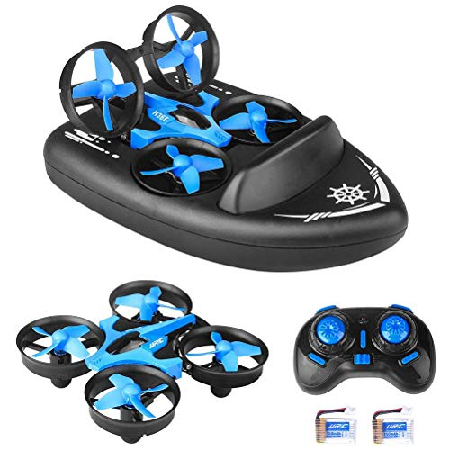 Deeabo 2.4G Quadcopter, 3 En 1 Mini Jjrc H36f RC Drone Control Remoto Modo Coche / Barco / Quadcopter con 360 ° Flips Stunt Modo Sin Cabeza, Aerodeslizador De Simulación para Niños Juguetes Regalos