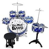 Reditmo Schlagzeug Kinder Komplettset Drum Kinder Set Musikinstrument Schlagzeug mit 6 Trommeln, Becken, Stuhl, Kick Pedal, Drumsticks, Hocker, Blau