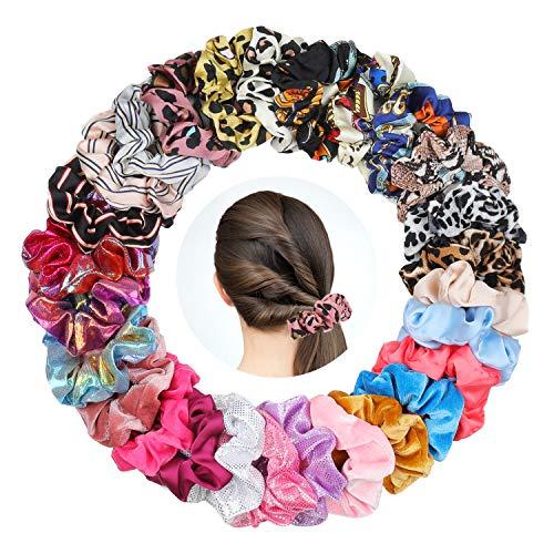 27 Stks Haar Scrunchies voor Meisjes, Fluweel, Chiffon en Glanzende Metallic Elastieken Haarbanden, 27 Stks Multi Color Haarbanden - Premium Kwaliteit haarbanden Paardenstaart Houder voor meisjes haaraccessoires