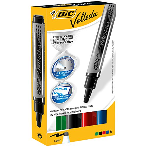 BIC Velleda Tank Wideboard Slate Markers - Assorted colors, 4 Blister units
