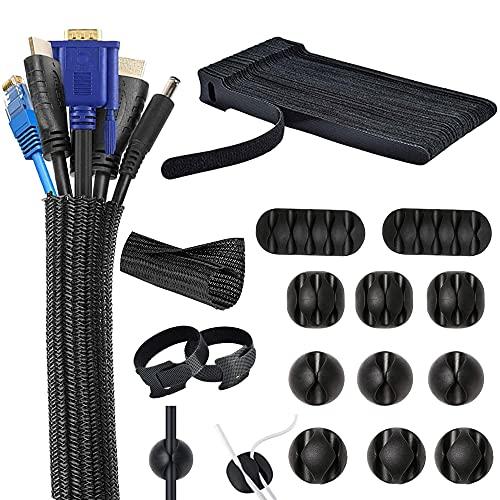 Kabelmanagement Organizer Set, Cable Management System Set, Kabel Management für Schreibtisch, 30 Klett Kabelbinder, 10 Kabelhalter, Flexibel 2m Durchmesser 12-20mm Kabelschlauch für PC Büro