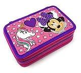 Minnie Mouse - Astuccio Scuola 3 Zip Minnie - TOPOLINA - Completo di 44 Pezzi - Prodotto Ufficiale Disney (Viola)