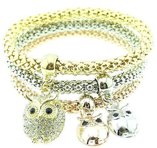 Inception Pro Infinite Tres pulseras de mujer – búhos – Pulseras – Strass – búhos – Brillantes – Plata – Color dorado – Navidad – Elásticas