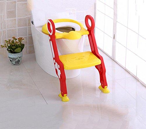 OOFAY Potty Toilet Seat met Scala Step Stool, 2-in-1 Trainer voor kinderen en kinderen geschikt voor 3-7 jaar, geel