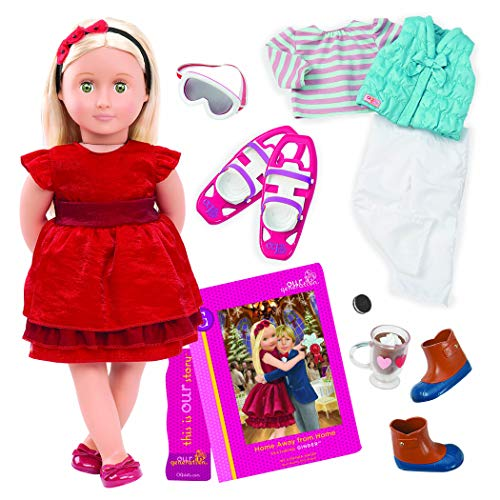 Our Generation by Battat- Ginger 18' Posable Holiday Deluxe Doll with Book & Accessories- for Age 3 Years & Up
