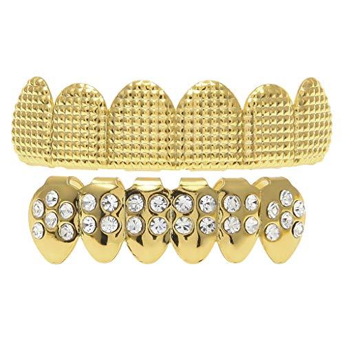 Non-brand Parrilla Brillante de Los de La Moda, Parrillas Superiores E Inferiores de La Cara E Inferior del Diamante de Hip Hop de Las Mujeres - Oro